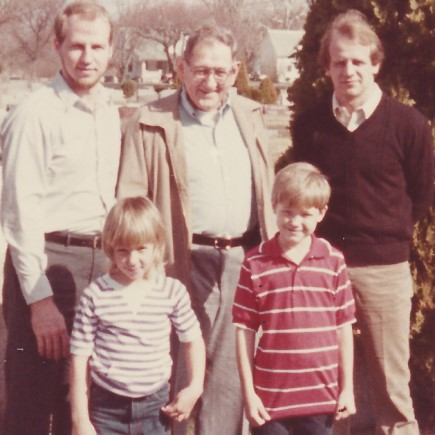 Grandpa Dick with Mike & Rick and Mike's children, Allison & Deron. 1985