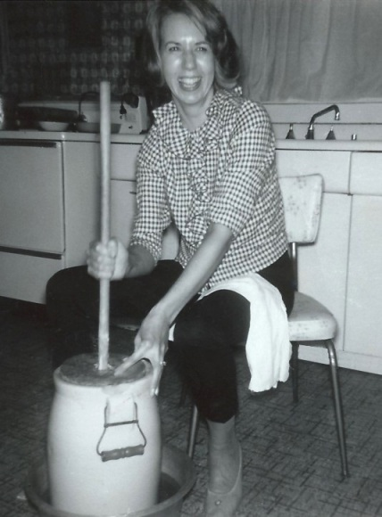 MOTHER at the Butter Churn - December 1964